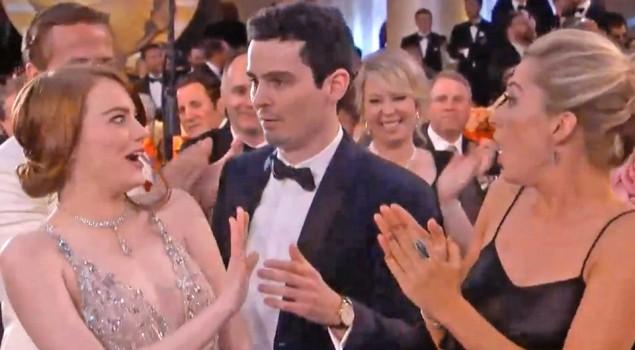 Golden Globes 2017, l'abbraccio fallito tra Emma Stone e Damien Chazelle