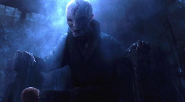 Star Wars: Gli ultimi Jedi, uno sguardo ravvicinato al nuovo look del Leader Supremo Snoke