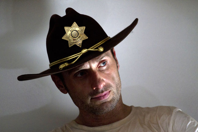 Andrew Lincoln in a sidelit moment,