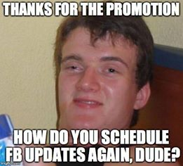 Grazie per la promozione. Come programmate gli aggiornamenti su FB, ragazzi?