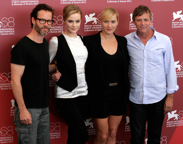 Il cast della serie tv drammatica Mildred Pierce: Guy Pearce, Evan Rachel Wood, Kate Winslet e il regista Todd Haynes (foto di Luca Maragno)