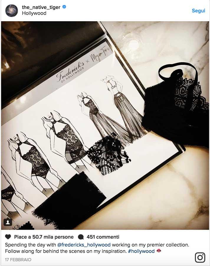 L'annuncio su Instagram della nuova linea firmata Megan Fox per Frederick's of Hollywood