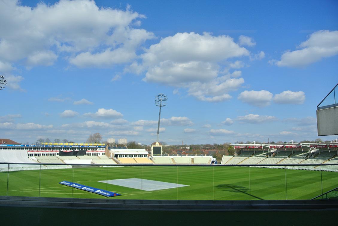 La vista dalla sala del Meet and Greet dello stadio di Cricket Edgbaston