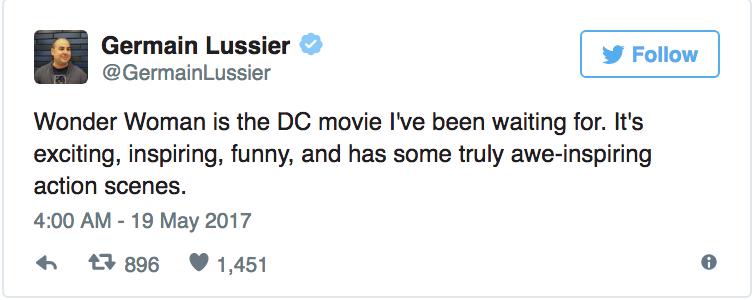 Germain Lussier - «Wonder Woman è il film DC che stavo aspettando. È emozionante, stimolante, divertente e ha delle scene d'azione v...