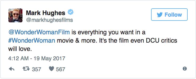 Mark Huges - «Wonder Woman è tutto ciò che desideri da un film su Wonder Woman e molto di più. È il film che anche chi critica l'Uni...