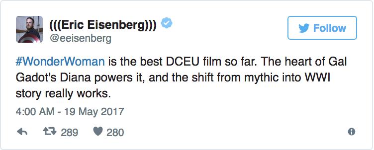 Eric Eisenberg - «Wonder Woman è il miglio film DC finora. Il cuore della Diana di Gal Gadot è potente e il passaggio da mito alla Prima ...