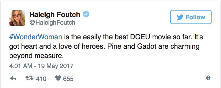 Haleigh Foutch - «Wonder Woman è semplicemente il miglior film DC finora. Ha amore e a cuore gli eroi. Pine e Gadot sono affascinanti olt...