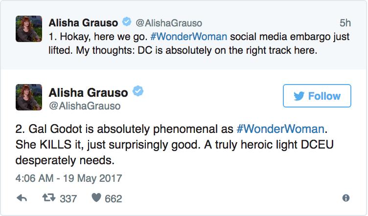 Alisha Grauso - «L'embrago è scaduto. Ecco la mia opinione: 1. la DC è sulla strada giusta 2. Gal Gadot è assolutamente fenomenale c...