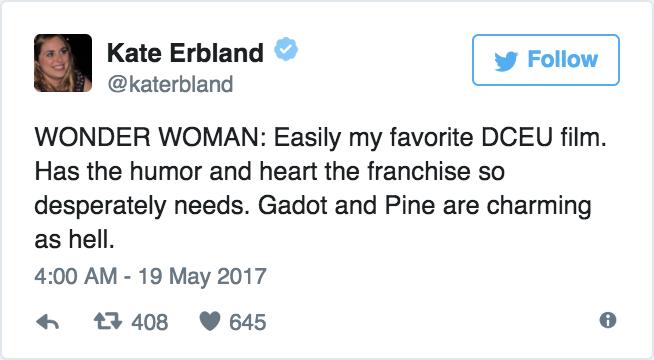 Kate Erbland - «WONDER WOMAN: il mio film preferito della DC. Ha l'umorismo e il cuore di cui questo franchise aveva disperatamente ...